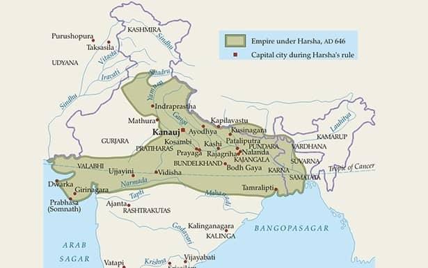 pushyabhuti dynasty king harshavardhan huan tsang shashanka