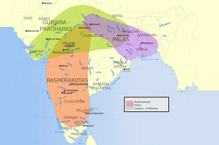 Kannauj Tripartite Struggle  Gurjara Pratihara dynasty Rashtrakuta dynasty
