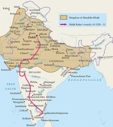 khilji dynasty alauddin khalji Malik Kafur  delhi sultanate