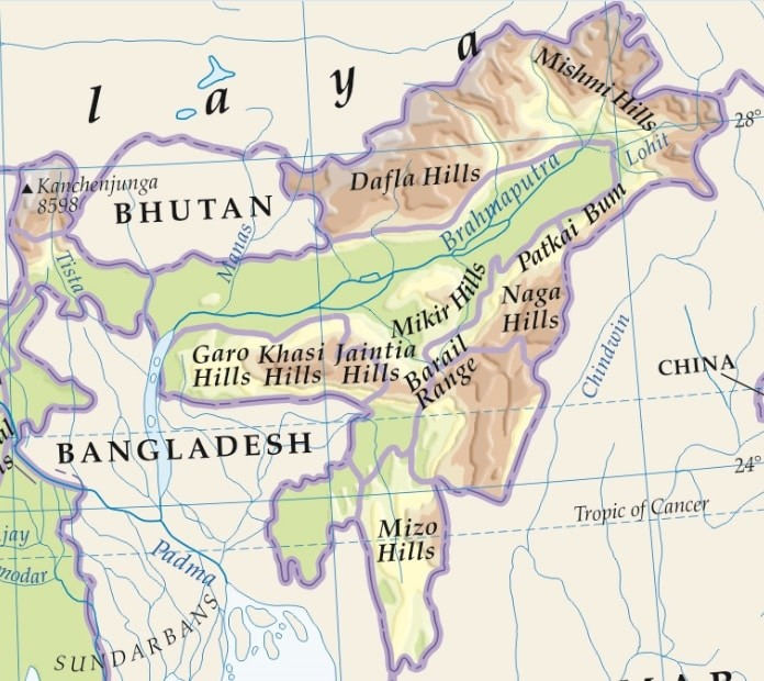 mountain ranges in north east india