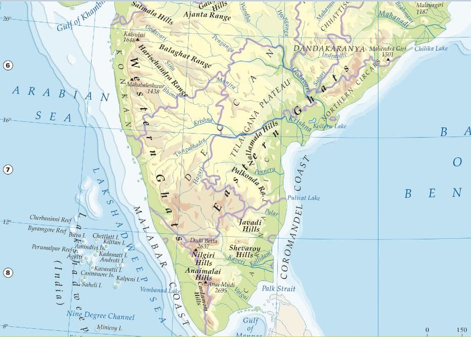 mountains in india mountain ranges plateaus map western ghats